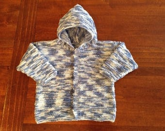 Coat mottled blue and white cotton Hoodie for 12-month-old baby, knitted hand