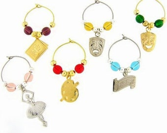 Art Drink Charms, Wine Glass Charms