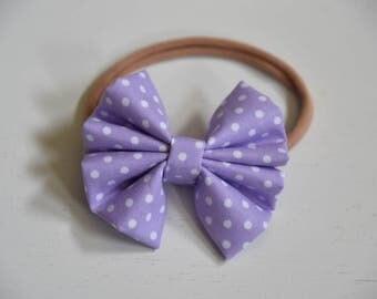 Nylon headband-Mini polka lavender bow