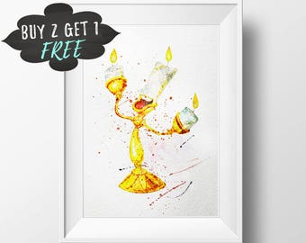 Disney Beauty And The Beast Lumiere Art Print Poster, Wall Art Nursery Decor Printable Watercolor Instant Download, Baby Gift Girls Room