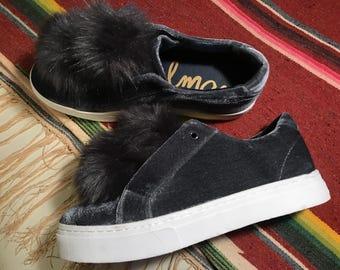 Sam Edelman Grey Velvet Pompom Platform Sneakers Size 9