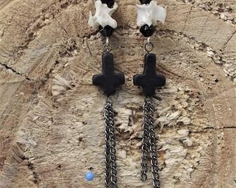 Inverted cross vertebrae earrings