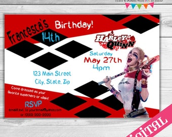 DIGITAL Harley Quinn invitation