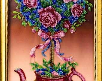Bead-embroidered picture Pink Topiary tree of happiness flowers in teapot decor gift  elegant interior design decoration