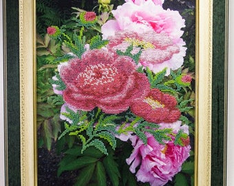 Bead-embroidered picture Peonies flower bouquet decor gift beadwork embroidery beads art elegant interior design decoration