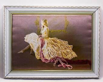 Beaded picture Ballerina ballet dancer girl bead-embroidered decor gift beadwork embroidery bead art interior design decoration