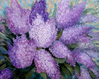 Lilac Original oil painting Bykova Birthday Wedding Home Wall Decor Women Friend Mother Coworker Gift Ready to Hang Bloom Blossom New Flower