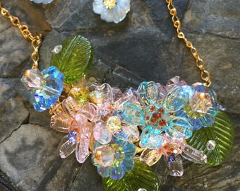 Glass flower necklace and matching earrings; a sparkling spring bouquet!