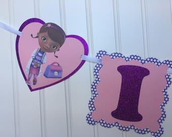 Doc McStuffins Birthday Banner- Girl Birthday Party Banner- CUSTOMIZE