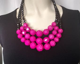 Raspberry Beaded Necklace/Raspberry BIb Necklace/Statement Hot Pink Necklace/Yochi NY Necklace/Black & Pink Beaded Necklace/Gift For Her/027