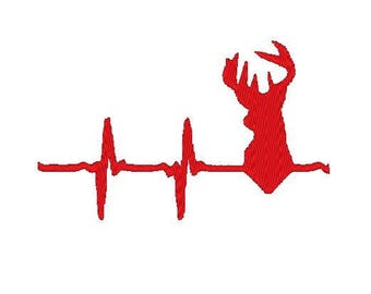 Deer Heart beat Embroidery file