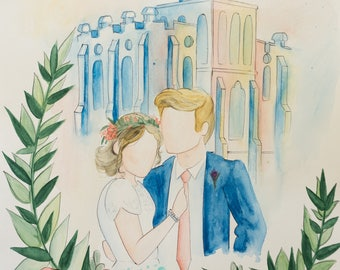 Watercolor temple/wedding painting