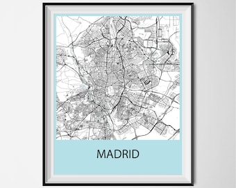 Madrid Map Poster Print - Black and White