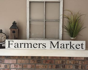Beautiful Farmers Market Sign / Farmhouse Decor / French Country Kitchen / Large Farmers  Market Kitchen Sign