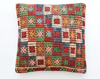 "Kilim rug pillow cover 20""x20"" (50x50cm) 011"