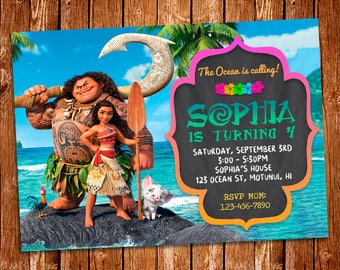 Moana Invitation, Moana Printables, Moana Birthday Party, Moana Card, Moana Birthday Card, Moana Invite, Moana Printable Invitation, Moana