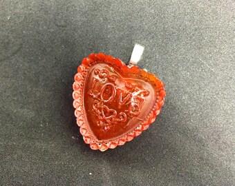 """Red Resin """"Love"""" Heart Pendant"""
