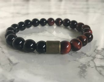 Black Onyx and Red Tiger Eye Beaded Bracelet, Gemstone Jewellery, Stretch Bracelet