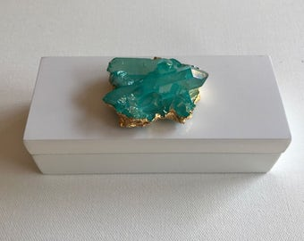X Small Lacquer Box with Teal Crystal