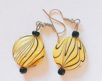 Handcrafted disc beaded earrings