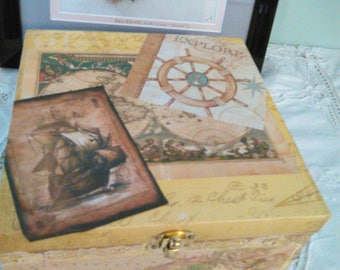 Hand Decorated box - Bon Voyage