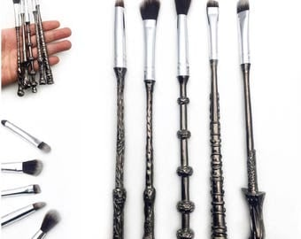 5 pieces Harry Potter Fans Wizard Wand Make Up Brushes Set Kit METAL handle