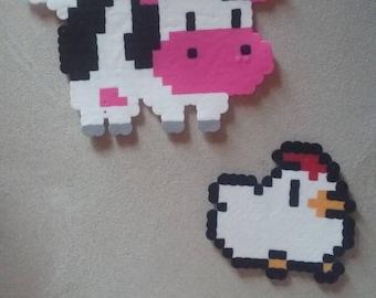 Harvest Moon Perler Bead Animals (Cow and Chicken)