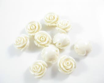 10PC Cream Resin Flower Cabochons, Jewelry Supply 13mm