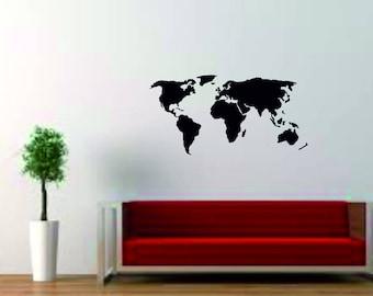 World Map Decal, Nursery Wall Decal - Baby Room Decor