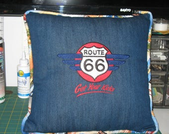 Route 66 16X16 Inch Denim Pillow