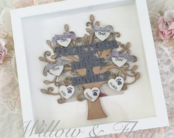 Family Tree with Hearts and Bows - Engraved Framed Keepsake - Personalised - MDF - Home Decor