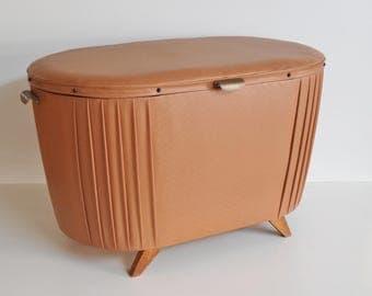 Vintage linen Truhe 50s 60s art leather