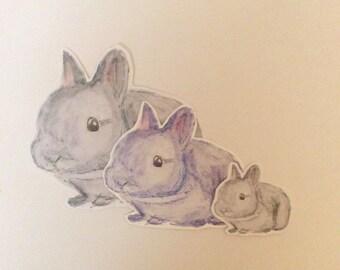 grey bunny stickers