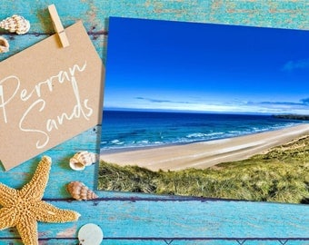 Greeting Card | Perran Sands, Cornwall | Premium Greeting Card & Brown-Ribbed Envelope | Beautifully Handcrafted in Cornwall