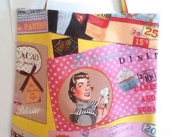 shopper 50's/60's/cotton bag/vintage fantasy