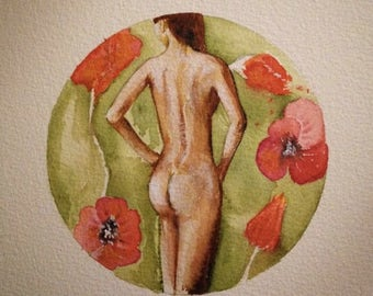 Naked woman watercolor painting with poppies and flowers