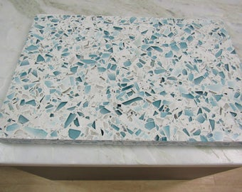 Floating Blue Vetrazzo Cutting Board 12 x 18 Polished Recycled Glass