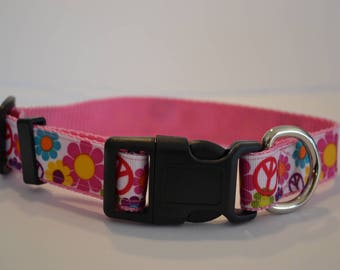 "Peace & Love dog collar  (M-XL) 1"" wide"