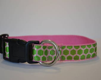 "Pink & Green collar  (M-XL) 1"" wide"