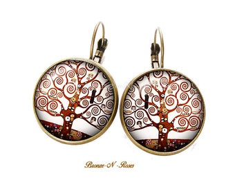 Earrings * tree of life * spirals cabochon bronze gustav Klimt reproduction sleepers