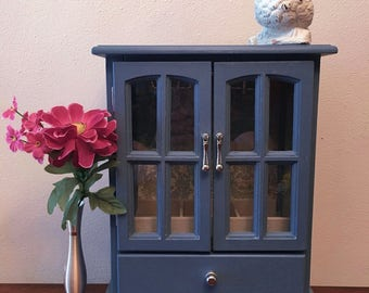 Smokey Blue French Door jewelry box