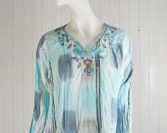 Women' shirt tunic with embroidery, Silk, embroidered, cotton, Vintage