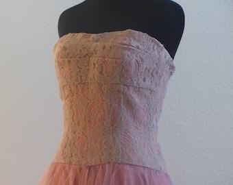 1950s Mauve Tulle Strapless Prom Dress – XXS