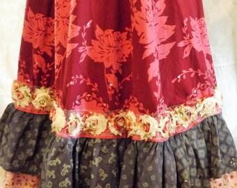 Gypsy Prairie Boho French Country Ruffle skirt
