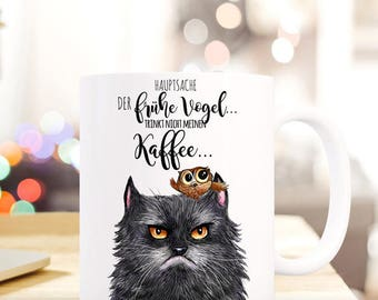 Gift coffee cup cat the early bird TS359