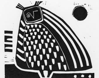 Owl Linocut: Who? - linocut, black and white, relief print, whimsical, original art work, hand printed, limited edition