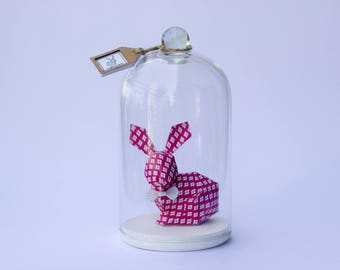 "Paper Bunny ""Pink Losange"", Handmade in France, Home decoration."