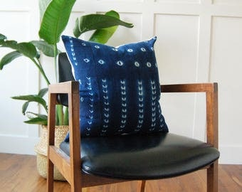 Authentic African Mudcloth Indigo Pillow Cover