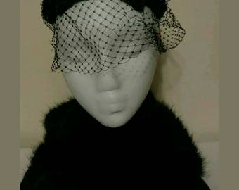 Vincent De Koven Original Black Netted Velour Fascinator