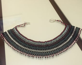 Intricate seed bead necklace - collar necklace - Japanese seed bead necklace